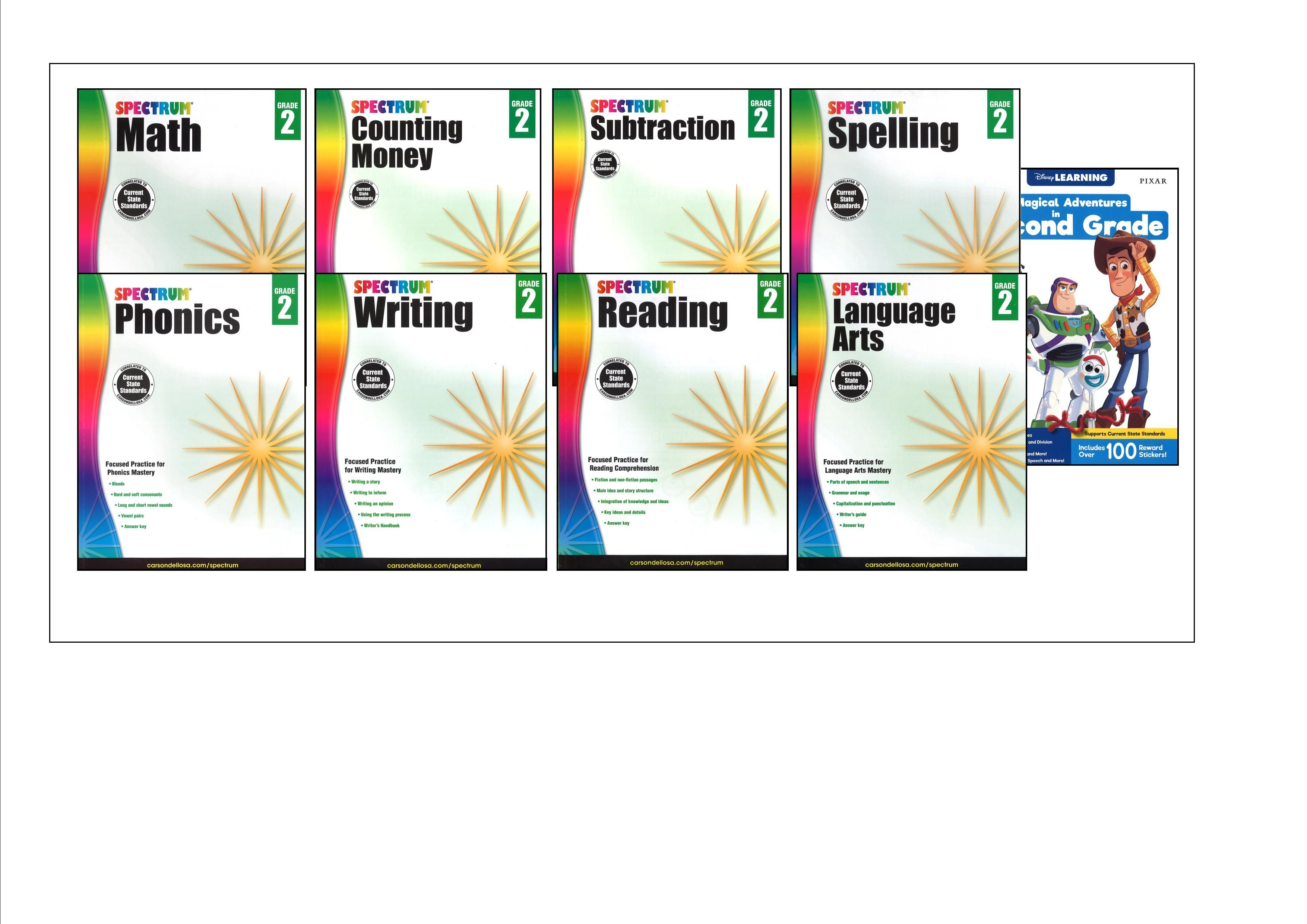 SPECTRUM Curriculum Package for Grade 2 - Set of 6 Workbooks & L