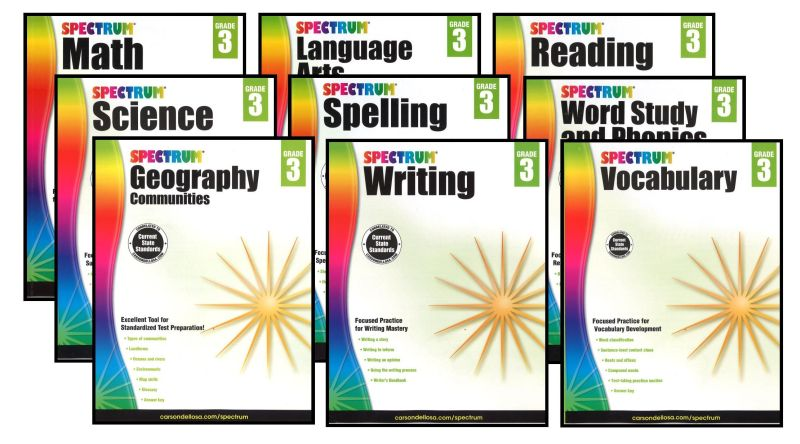 SPECTRUM Curriculum Package for Grade 3 - Set of 9 Workbooks &