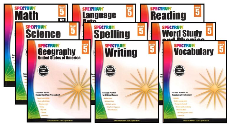 SPECTRUM Curriculum Package for Grade 5 - Set of 9 Workbooks & L